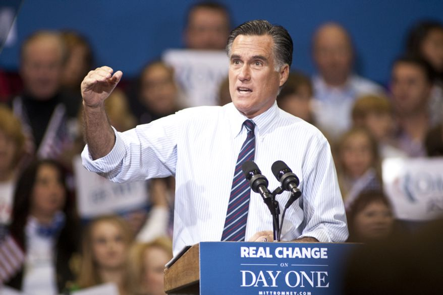 Republican presidential candidate, former Massachusetts Gov. Mitt Romney speaks at a Virginia campaign rally at The Patriot Center, George Mason University, in Fairfax, Va., Monday, Nov. 5, 2012. (Craig Bisacre/The Washington Times)