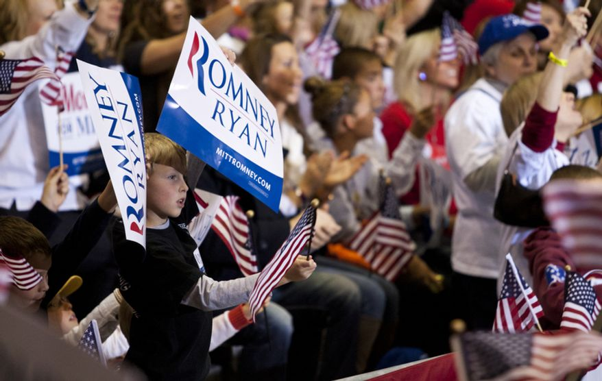 Supports cheer during republican presidential candidate, former Massachusetts Gov. Mitt Romney speech at a Virginia campaign rally at The Patriot Center, George Mason University, in Fairfax, Va., Monday, Nov. 5, 2012. (Craig Bisacre/The Washington Times)