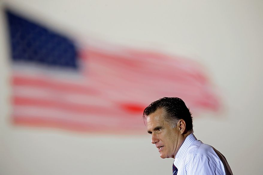 Republican presidential candidate Mitt Romney speaks during a campaign event at the Orlando Sanford International Airport on Monday, Nov. 5, 2012, in Sanford, Fla. (AP Photo/David Goldman)