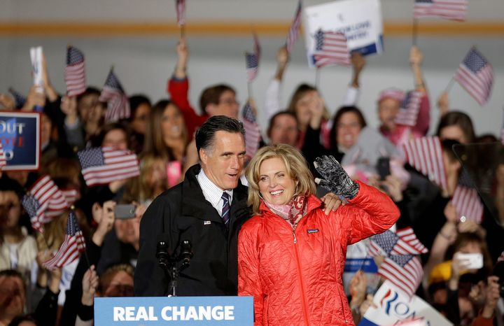 Republican presidential candidate, former Massachusetts Gov. Mitt Romney, left, and his wife Anne, step up to the podium as they arrive for a campaign event at Port Columbus International Airport, Monday, Nov. 5, 2012, in Columbus, Ohio. (AP Photo/David Goldman)