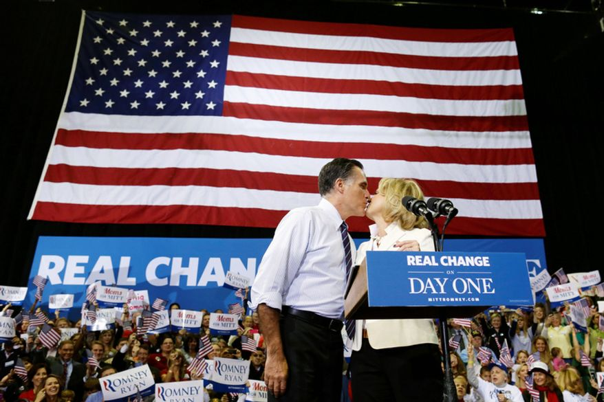 Republican presidential candidate, former Massachusetts Gov. Mitt Romney kisses his wife Ann as they take the stage at a Virginia campaign rally, Monday, Nov. 5, 2012, at The Patriot Center, George Mason University in Fairfax, Va. (AP Photo/Charles Dharapak)