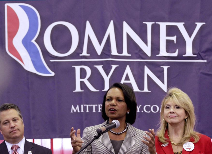 "Former Secretary of State Condoleezza Rice addresses Romney supporters at Broward College during a ""Get-Out-The-Vote"" event in Davie, Fla., Monday, Nov. 5, 2012. Romney is making a strong push for Florida voters.  (AP Photo/Alan Diaz)"