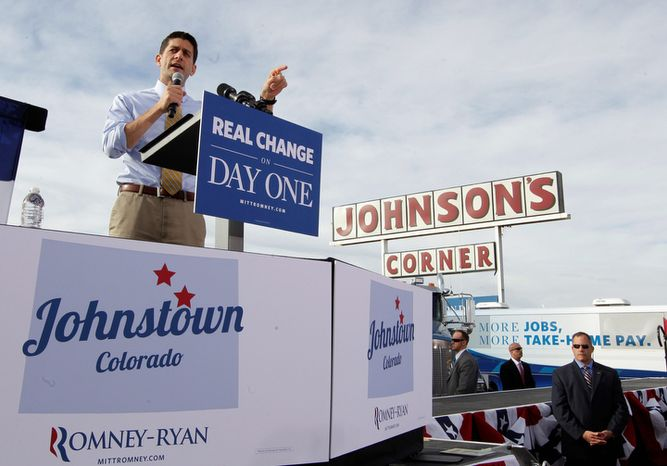 Republican vice presidential candidate, Rep. Paul Ryan, R-Wis. gestures as he speaks during a campaign event at Johnson's Corner, Monday, Nov. 5, 2012 in Johnstown, Colo.  (AP Photo/Mary Altaffer)
