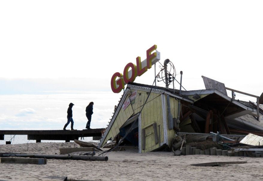 A minigolf course on the boardwalk in Point Pleasant Beach N.J., shown here on Thursday, Nov. 1, 2012, was destroyed by Hurricane Sandy. The storm wrecked boardwalks and amusements up and down the 127-mile Jersey shore. (AP Photo/Wayne Parry)
