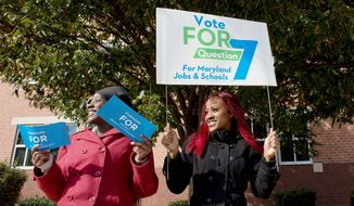 Sisters Juasmine (left) and Jualece Huff campaign Tuesday outside of Winston Churchill High School in Potomac for Question 7, which would expand gambling in the state, because they think it will result in jobs and money for education. (Barbara L. Salisbury/The Washington Times)