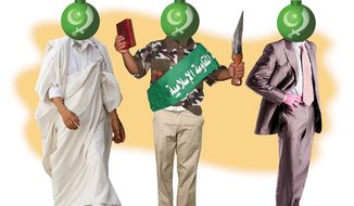Illustration Moderate Islamist by Alexander Hunter for The Washington Times