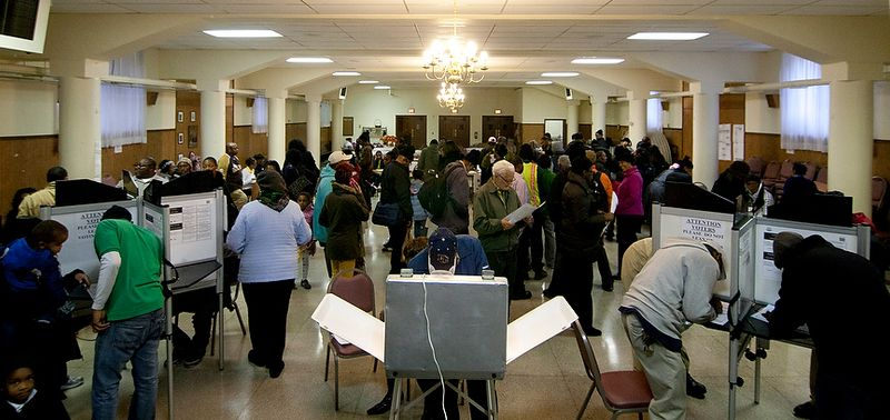 Voters cast their ballots at St. Francis Church, Precinct 111 polling site in Washington, D.C., to cast their vote, Tuesday, Nov. 6, 2012 (Craig Bisacre/The Washington Times) ** FIL
