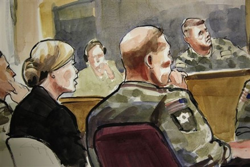 In this detail of a courtroom sketch, U.S. Army Staff Sgt. Robert Bales (seated at front right) listens on Monday, Nov. 5, 2012, during a preliminary hearing in a military courtroom at Joint Base Lewis-McChord in Washington state. Sgt. Bales is accused of 16 counts of premeditated murder and six counts of attempted murder for a pre-dawn attack on two villages in Kandahar province in Afghanistan in March 2012. At upper right is Col. Lee Deneke, the investigating officer, and seated at front left is Sgt. Bales' civilian attorney, Emma Scanlan. (AP Photo/Lois Silver)
