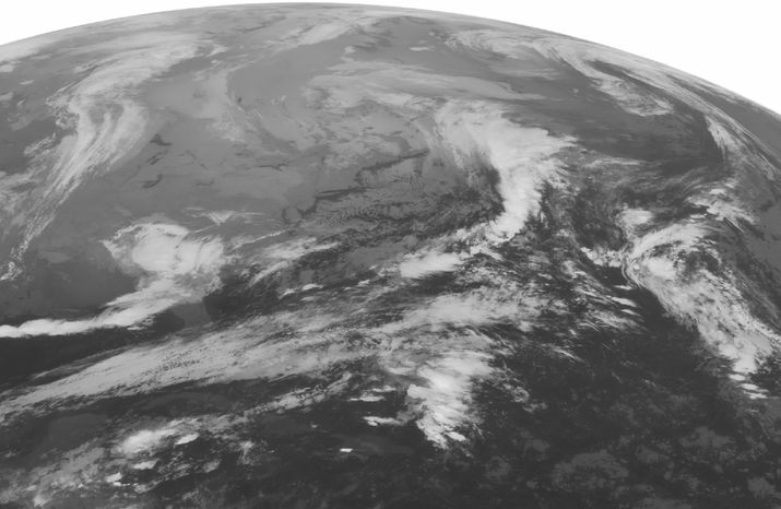 A National Oceanic and Atmospheric Administration satellite image taken on Tuesday, Nov. 6, 2012, at 1:45 a.m. EST shows a low pressure system over the lower Mississippi Valley with areas of thunderstorms over the northern Gulf of Mexico and rain over the southea