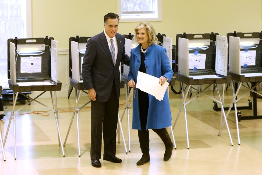 Republican presidential candidate Mitt Romney and his wife, Ann, vote in Belmont, Mass., on Tuesday, Nov. 6, 2012. (AP Photo/Charles Dharapak)