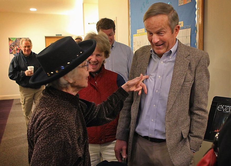 Missouri U.S. Senate candidate, Rep. Todd Akin, R-Mo., is greeted by his long-time neighbor and friend, Pastor Ruth Anderson at their polling place, Star Bridge Christian Center, Tuesday, Nov. 6, 2012, in Wildwood, Mo. Akin is running against incumbent Sen. Claire McCaskill, D-Mo. (AP Photo/St. Louis Post-Dispatch, J.B. Forbes)  EDWARDSVILLE INTELLIGENCER OUT; THE ALTON TELEGRAPH OUT
