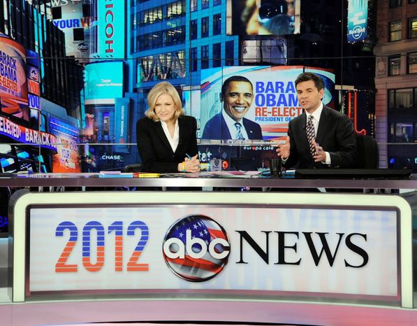 Veterans Diane Sawyer and George Stephanopoulos co-anchored election night coverage for ABC News on Tuesday. (Associat