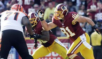 Linebacker Ryan Kerrigan is solid but has only one sack in his second season with the Washington Redskins. (Preston Keres/Special to The Washington Times)