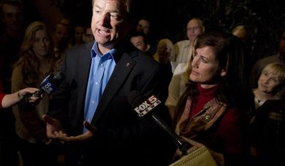 Sen. Dean Heller, Nevada Republican, talks to the media after winning re-election to the Senate over Rep. Shelley Berkley, his Democratic challenger, on Wednesday, Nov. 7, 2012, in Las Vegas. (AP Photo/Julie Jacobson)