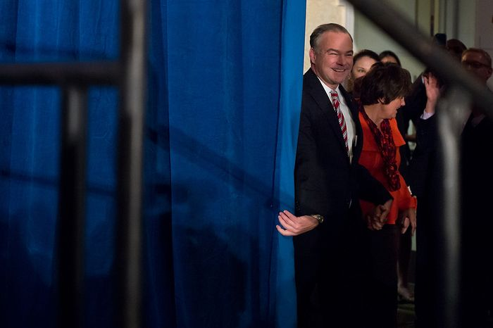 Tim Kaine (D) arrives with his wife Tim Kaine (D) arrives with his wife Anne Holton, right, to a cheering audience at his election night party  at the Richmond Marriott after winning the Virginia election for U.S. Senate, Richmond, Va., Tuesday, November 6, 2012. (Andrew Harnik/The Washington Times)