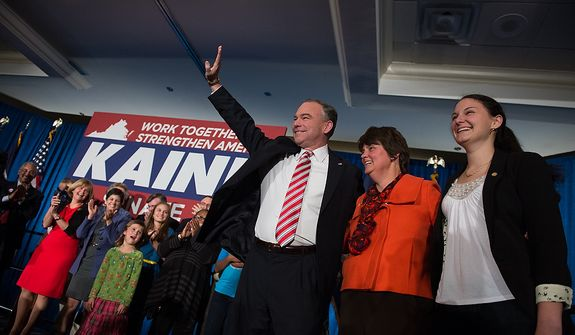 Tim Kaine (D) waves to a cheering audience at his election night party  at the Richmond Marriott after winning the Virginia election for U.S. Senate, Richmond, Va., Tuesday, November 6, 2012. (Andrew Harnik/The Washington Times)