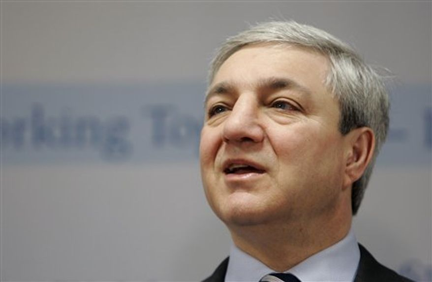 ** FILE ** In this March 7, 2007, file photo, Penn State University President Graham Spanier speaks during a news conference at the Penn State Milton S. Hershey Medical Center in Hershey, Pa. (AP Photo/Carolyn Kaster, File)