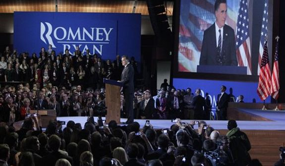 Republican presidential candidate and former Massachusetts Gov. Mitt Romney speaks during his election night rally, Wednesday, Nov. 7, 2012, in Boston. (AP Photo/Mary Altaffer)