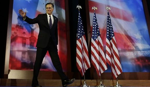Republican presidential candidate and former Massachusetts Gov. Mitt Romney arrives to give his concession speech at his election night rally in Boston, Wednesday, Nov. 7, 2012. (AP Photo/Charles Dharapak)