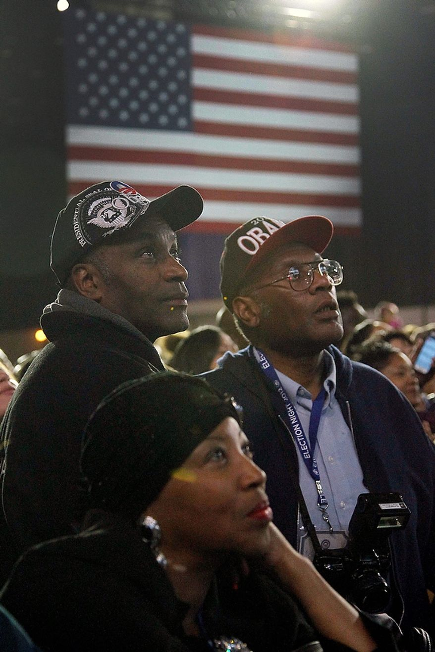 Supporters watch the election results on a big screen television at the election night party for President Barack Obama Tuesday, Nov. 6, 2012, in Chicago. (AP Photo/Charles Rex Arbogast)