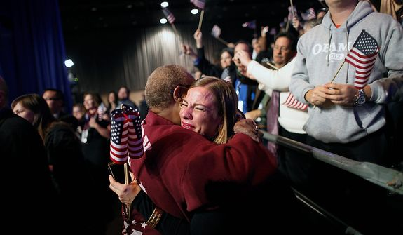 Supporters of President Barack Obama react to favorable media projections at the McCormick Place during an election night watch party in Chicago on Tuesday, Nov. 6, 2012. (AP Photo/Jerome Delay)