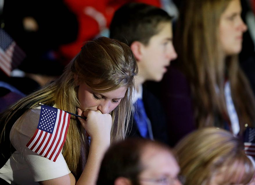 A supporter reacts to voting results displayed on a television screen during Republican presidential candidate and former Massachusetts Gov. Mitt Romney's election night rally, Tuesday, Nov. 6, 2012, in Boston. (AP Photo/David Goldman)