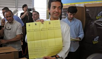 Puerto Rican Gov. Luis Fortuno shows his ballot to the press as he votes at a polling station in Guaynabo, Puerto Rico, on Tuesday, Nov. 6, 2012. (AP Photo/New Progressive Party, Jerry Guillen)