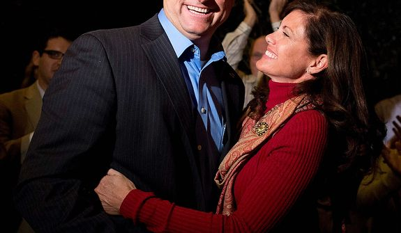 Nevada Sen. Dean Heller, left, shares a moment with his wife, Lynne Heller after speaking to the media about his win over challenger Rep. Shelley Berkley, D-Nev. to be re-elected to the Senate, Wednesday, Nov. 7, 2012, in Las Vegas. (AP Photo/Julie Jacobson)