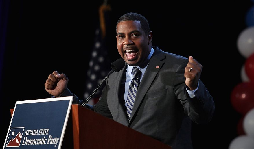 Nevada Senate Majority Leader Steven Horsford, D-Nev., speaks to supporters after winning the new 4th Congressional District, against Danny Tarkanian, R-NV. Tuesday, Nov. 6, 2012, at the Mandalay Bat Resort and Casino in Las Vegas. (AP Photo/John Gurzinski)