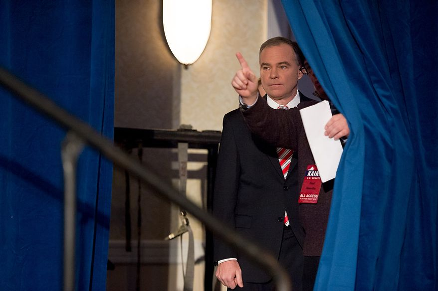 Democratic candidate for Senate Tim Kaine does a walk through to get  an idea of the room where his election night party will be held at the Richmond Marriott, Richmond, Va., Tuesday, November 6, 2012. (Andrew Harnik/The Washington Times)