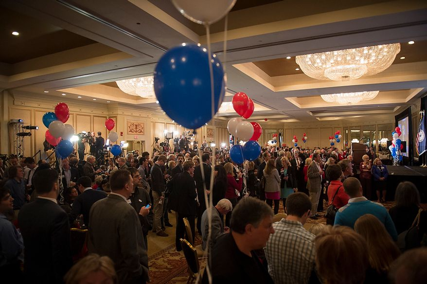 People fill the ballroom at Republican U.S. Senate candidate and former Virginia Governor George Allen's election night party event at the Omni Richmond Hotel in Richmond, Va., Tuesday, Nov. 6, 2012. (Rod Lamkey Jr./The Washington Times)