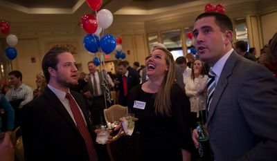 Mark Early (left) Erica Giovanni (center) and Andrew Hemby (right) all of Richmond, Va., react to election results at Republican U.S. Senate candidate and former Virginia Governor George Allen's election night party event at the Omni Richmond Hotel in Richmond, Va., Tuesday, Nov. 6, 2012. (Rod Lamkey Jr./The Washington Times)