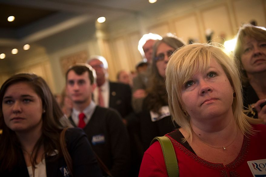 Supporters in the crowd listen as Republican U.S. Senate candidate and former Virginia Governor George Allen concedes the senate race to former Virginia Governor Tim Kaine during his election night party event at the Omni Richmond Hotel in Richmond, Va., Tuesday, Nov. 6, 2012. (Rod Lamkey Jr./The Washington Times)