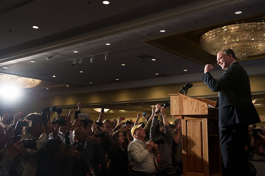 Tim Kaine (D) holds up a fist as he delivers his victory speech after winning the Virginia election for U.S. Senate at his election night party at the Richmond Marriott, Richmond, Va., Tuesday, November 6, 2012. (Andrew Harnik/The Washington Times)