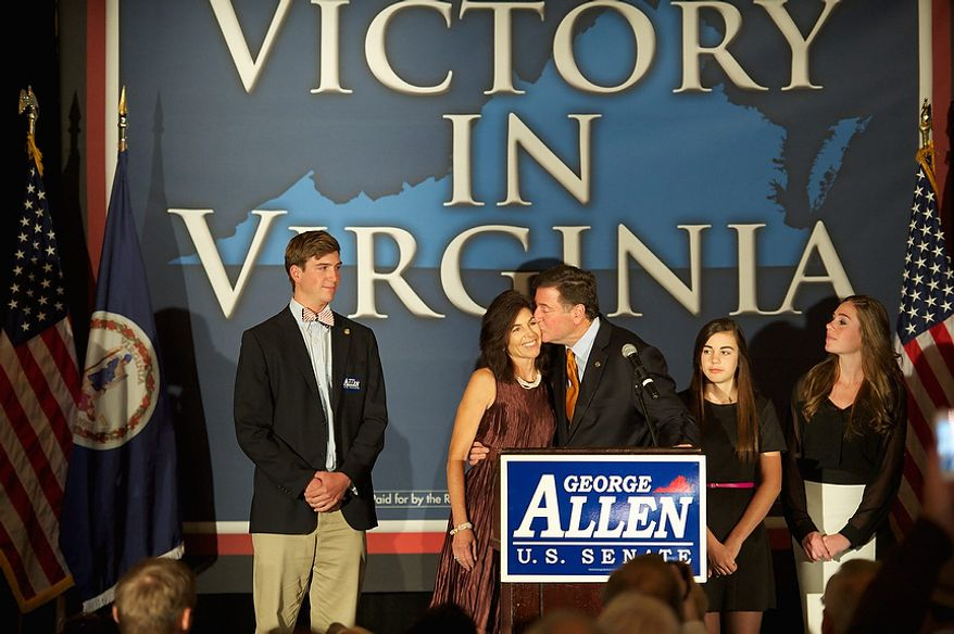 George Allen, R, delivers his concession speech after losing the Virginia election for U.S. Senate at his election night party at the Omni Hotel Richmond, in Richmond, Va., Tuesday, November 6, 2012. (Rod Lamkey, Jr./The Washington Times)