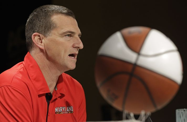 Maryland head coach Mark Turgeon speaks during the Atlantic Coast Conference NCAA college basketball media day in Charlotte, N.C., Wednesday, Oct. 17, 2012. (AP Photo/Chuck Burton)