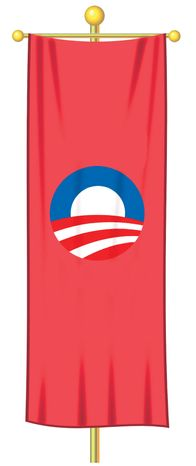Illustration Obama's Socialist Flag by Alexander Hunter for The Washington Ti