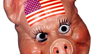 Illustration American Pig by Alexander Hunter for The Washington Times