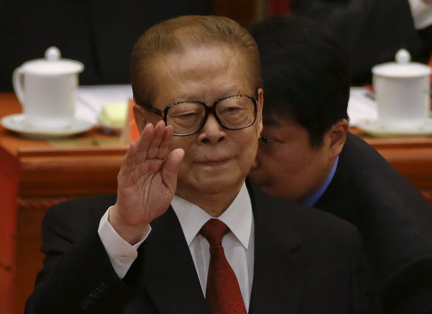 Former Chinese President Jiang Zemin attends the opening session of the 18th Communist Party Congress on Nov. 8, 2012, at the Great Hall of the People in Beijing. (Associated Press)