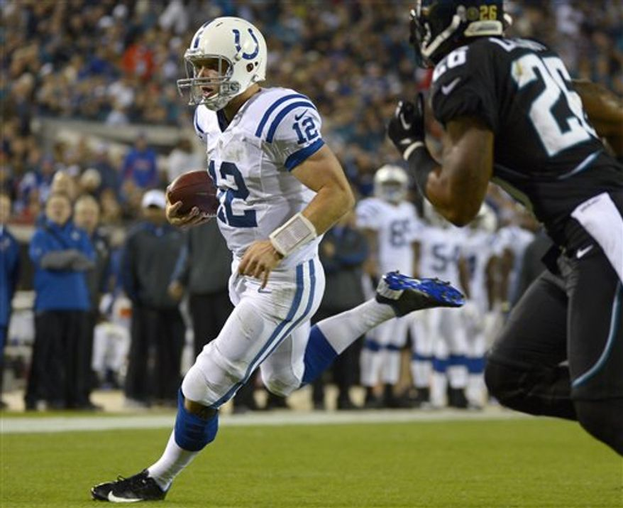 Indianapolis Colts quarterback Andrew Luck (12) outruns Jacksonville Jaguars strong safety Dawan Landry (26) to score a touchdown during the second quarter of an NFL game Thursday, Nov. 8, 2012, in Jacksonville, Fla. (AP Photo/Phelan M. Ebenhack)