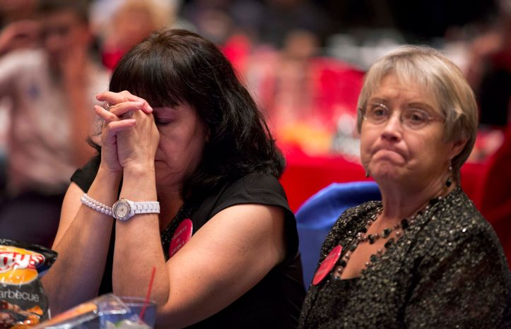 Mitt Romney campaign volunteer Lynn Short (right) and a supporter who wished not to be identified react as they watch presidential election returns at a GOP watch party on Nov. 6, 2012, in Las Vegas. (Associated P