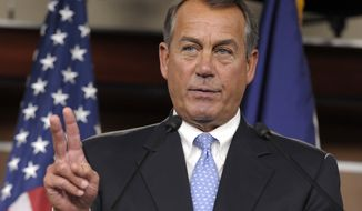 House Speaker John Boehner, Ohio Republican, calls on a reporter Nov. 9, 2012, during a news conference on Capitol Hill in Washington. (Associated Press)