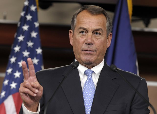House Speaker John Boehner, Ohio Republican, calls on a reporter Nov. 9, 2012, during a news conference on Capitol Hill in Washington. (A