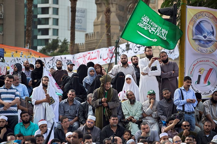 Egyptian Muslims gather during a Nov. 9, 2012, rally in Tahrir Square in Cairo. Thousands of ultraconservative Muslims rallied in the Egyptian capital, demanding the country's new constitution be based on the rulings of Islamic law, or Shariah. (Associated Press)