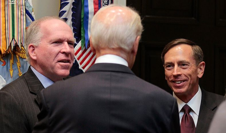 Vice President Joe Biden (center) talks Sept., 6, 2011, with John Brennan (left), President Obama's chief counterterrorism adviser, and CIA director David Petraeus following a swearing-in ceremony in the Roosevelt Room of the White House in Washington. (Associated Press)