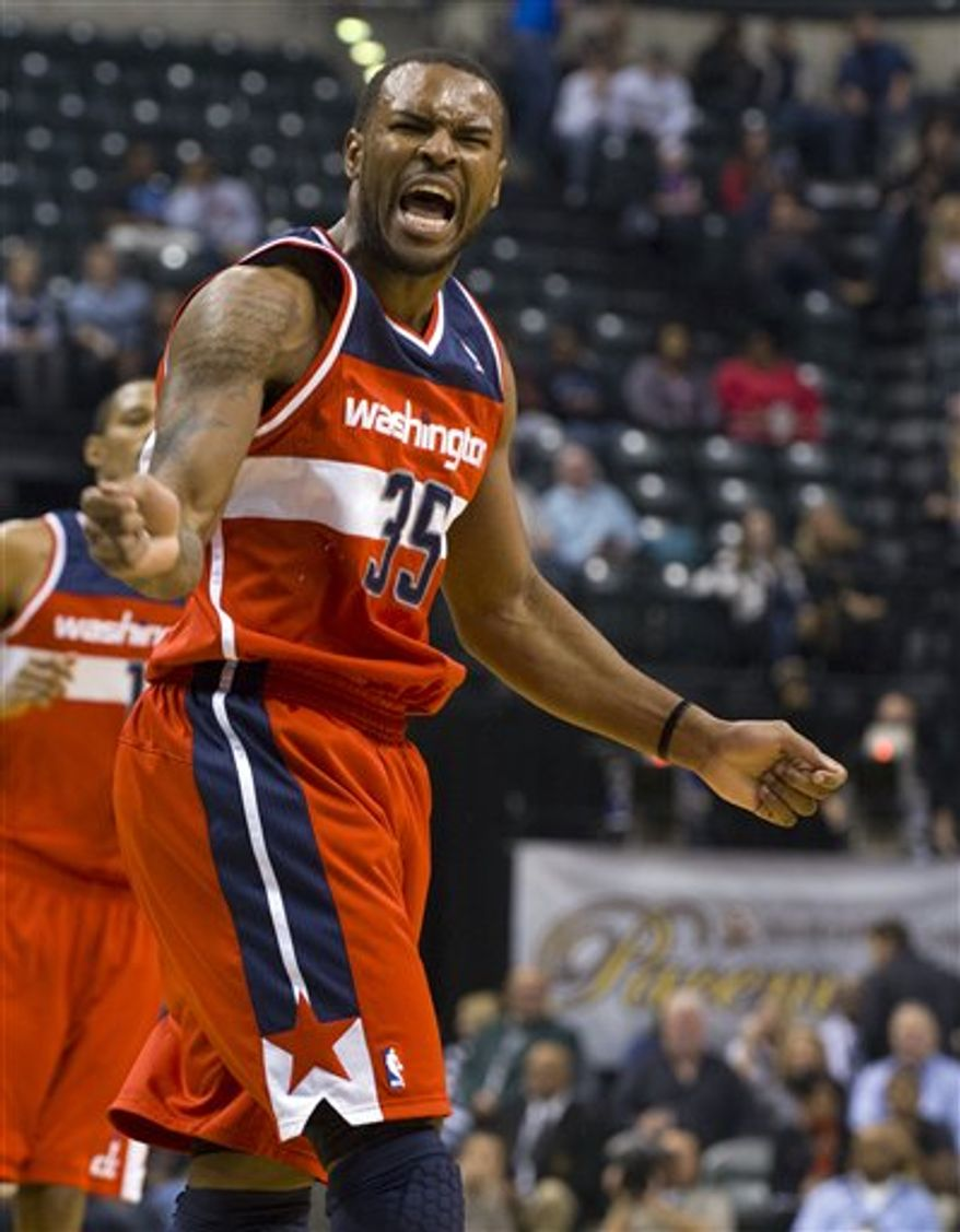 Washington Wizards power forward Trevor Booker (35) reacts toward officials after he felt he was fouled during first-half action in an NBA basketball game agansit the Indiana Pacers in Indianapolis, Saturday, Nov. 10, 2012. (AP Photo/Doug McSchooler)