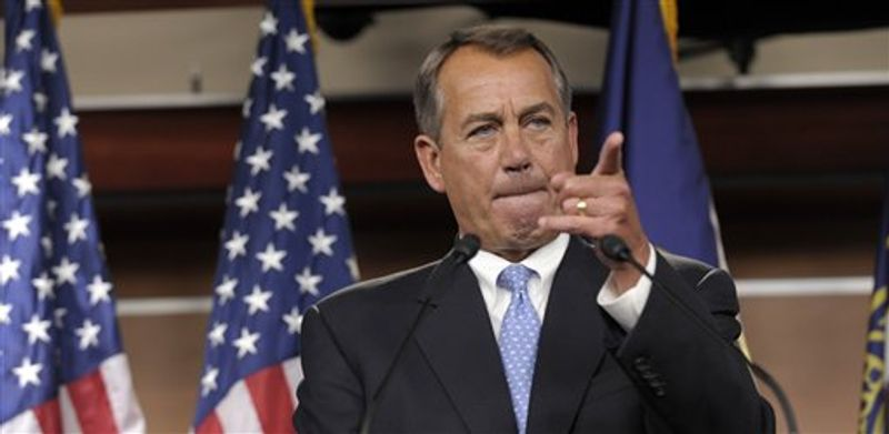 House Speaker John Boehner of Ohio calls on a reporter during a news conference on Capitol Hill in Washington, Friday, Nov. 9, 2012. Boehner said any deal to avert the so-called fiscal cliff should include lower tax rates, eliminatin