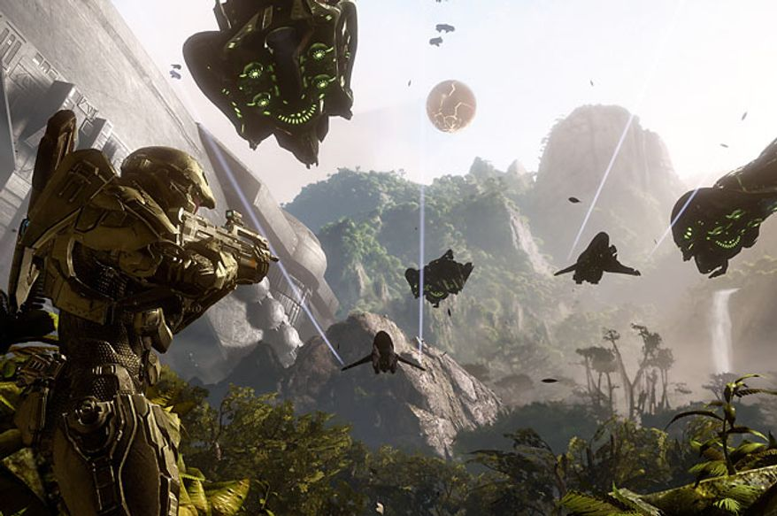 Master Chief fights the Covenant in the video game Halo 4.