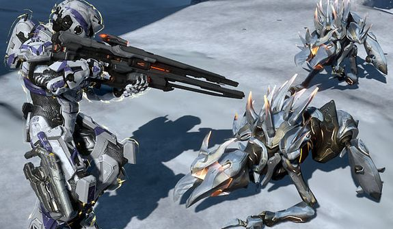A Promethean Crawler is about to meet his demise in the video game Halo 4.