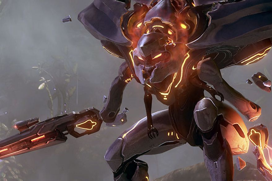 Meet a Lego Bionicle, er, Promethean Knight in the video game Halo 4.